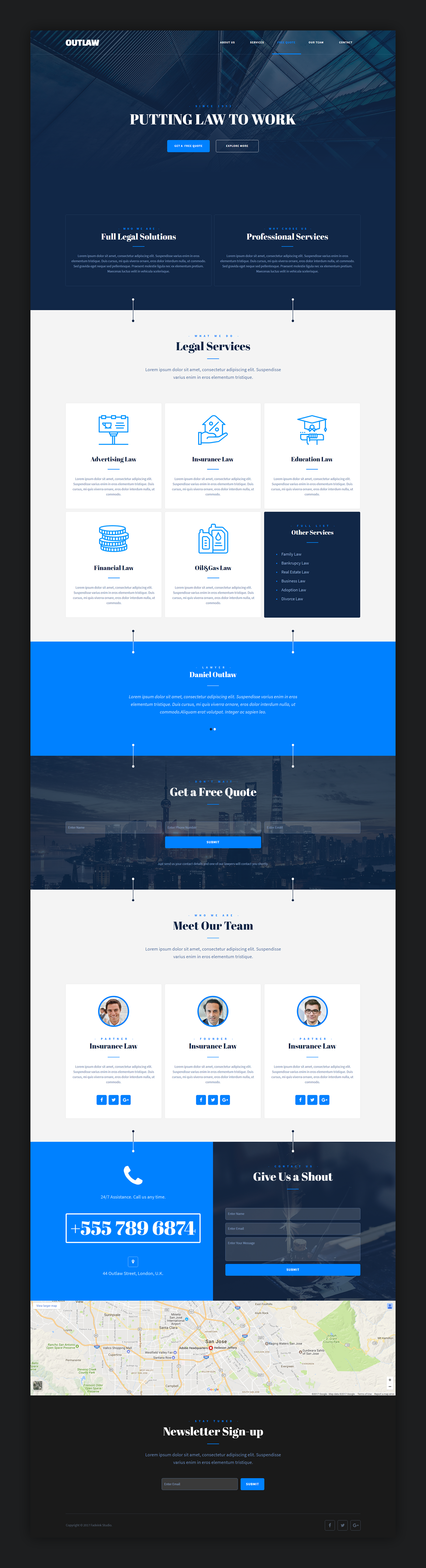 Ourlaw muse landing page template full preview