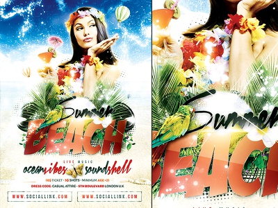 Summer Party Poster Template festival concert party pool summer beach template poster flyer photoshop psd a4
