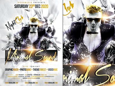 Minimal Poster Template psd flyer poster template electro party elegant luxury vip nightclub lounge minimal