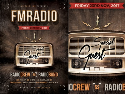 Retro Party Flyer Template a4 psd photoshop flyer poster template retro vintage radio party show