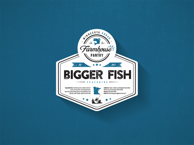 Bigger Fish Label design logo sticker label seashell seafood fish bigger fish
