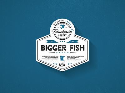 Bigger Fish Label design logo sticker label seashell seafood fish bigger fish