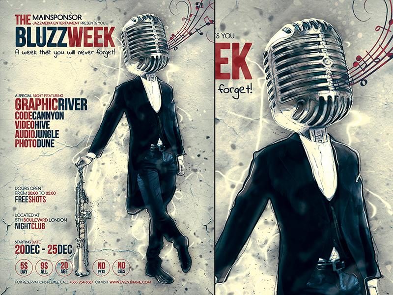 Jazz Flyer Template psd jazz flyer poster template vintage retro concert festival party karaoke