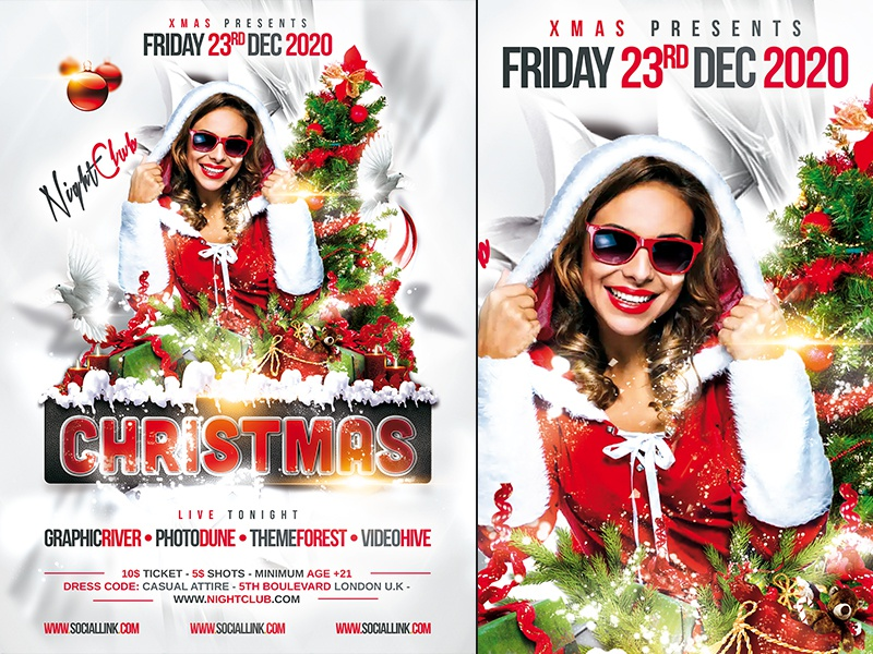 Christmas Party Flyer Template nye winter template design cover poster flyer party christmas