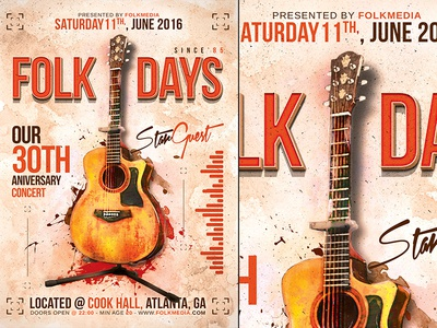 Folk Concert Flyer Template folk country music concert festival party psd flyer poster template vintage