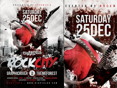 Rock Concert Flyer Template psd flyer poster template rock city alternative vintage concert festival party gig