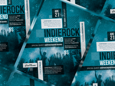 Indie Rock Flyer/Poster template invitation poster flyer indie rock rock indie
