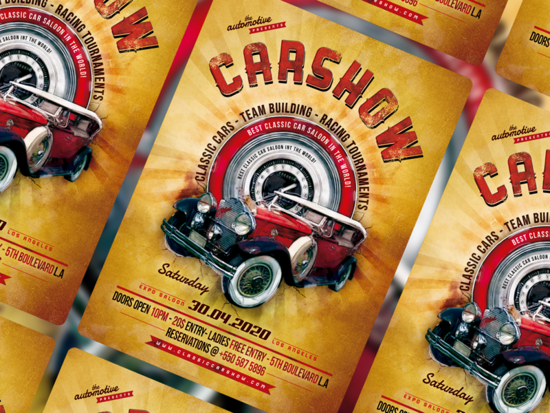Classic Car Show Flyer/Poster invitation poster fyer automotive car show classic