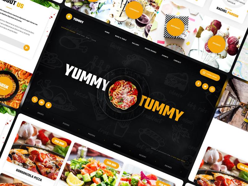 Yummy - Restaurant Website Template coffeeshop fastfood food bakery restaurant template website webdesign webflow