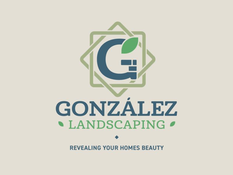 Gonzalez Landscaping Logo typography icon branding landscape grass monogram logo design lawn logo