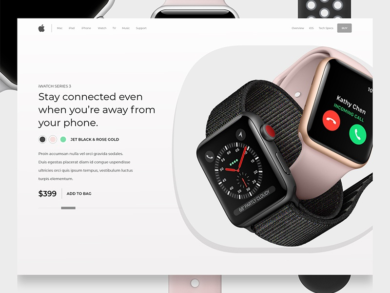 Iwatch product page design concept dribbble