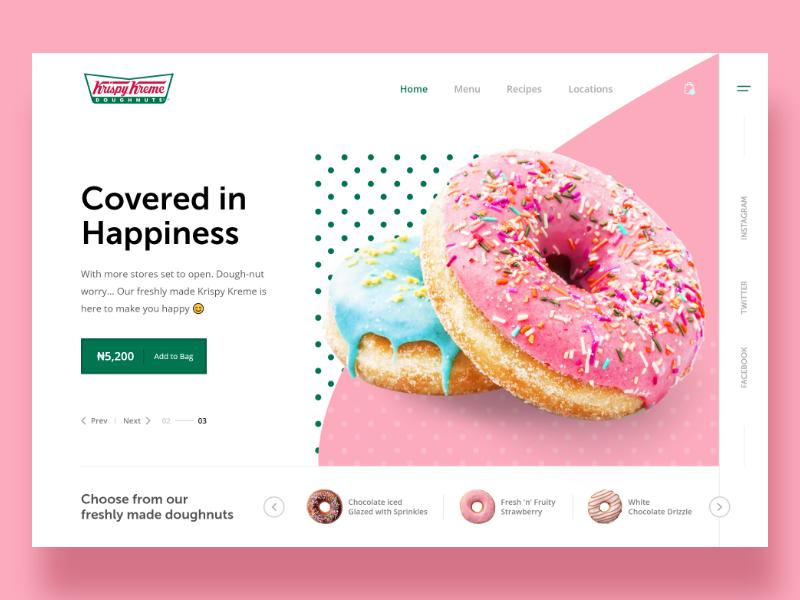 Krispy Kreme web adobexd landing xd madewithadobexd uiux doughnuts krispy-kreme template restaurant page menu