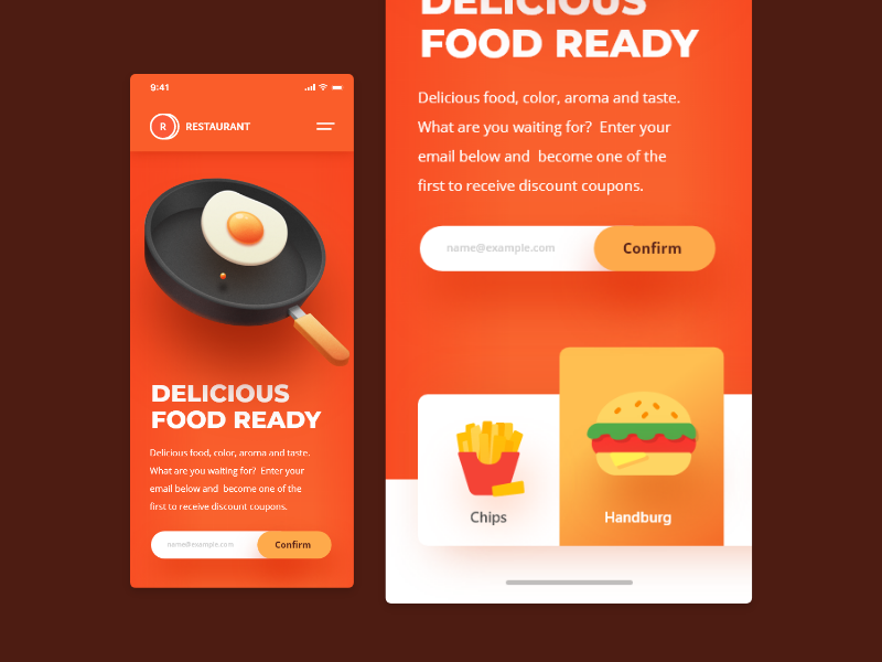 Food Mobile Website landing-page responsive illustration website ux ui uiux 3d food mobile