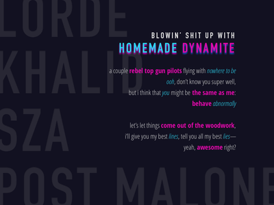 homemade dynamite - lyrics poster music lyrics neon duotone mockup concept inspiration poster lettering typography typo