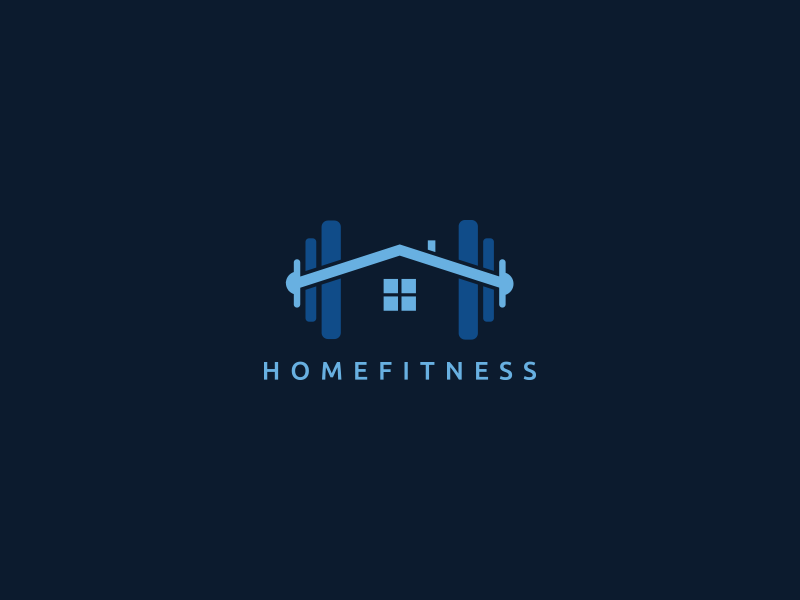 HomeFitness minimal creative branding creativity simple logo new year brand gym fitness home blue logo