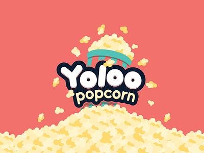 Yoloo Popcorn simpe simple design abstract clean childish design popcorn store popcorn design popcorn emblem logo design emblems popcorn popcorn logo