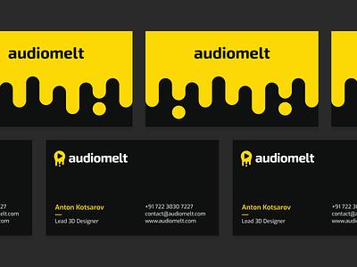 Audiomelt - Business Cards ui business cards design black yellow clean sound logo music logo sound melt music app card design business card design business cards branding modern logo