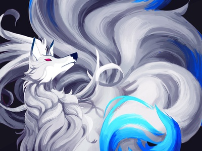 Shiny Ninetales tattoo white blue silver shiny ninetales pokemon illustration