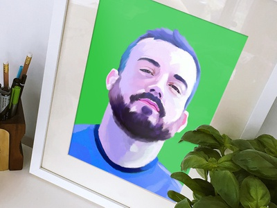 Rob blue beard illustration portrait