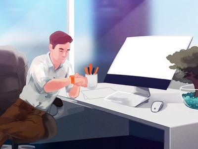 Smartwatch windows office plant work desk illustration app smartwatch