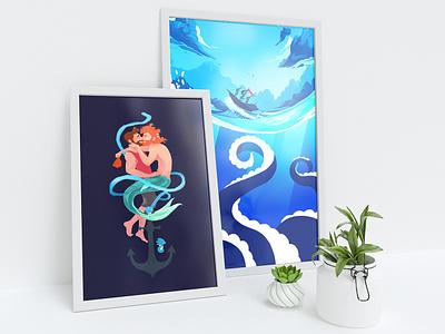 Free Mockup illustration desk plants poster prints mockup free