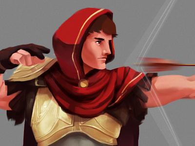 Concept Archer cape golden armor hoodie arrow bow archer digital art video games concept art illustration