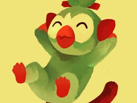 GrookeyGang digital art illustration art monkey grass pokemon grookey gang gang grookey
