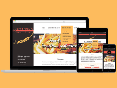 Responsive Web - Kettering Grill and Cafe resturaunt mobile tablet desktop yellow food web