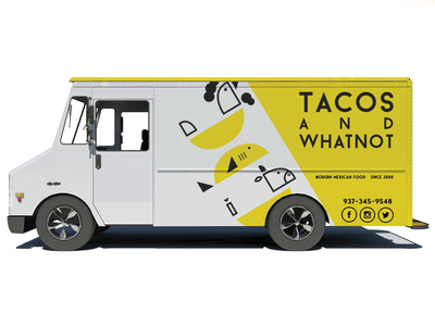 Taco Truck - Tacos and Whatnot white cow fish chicken food taco truck yellow truck taco