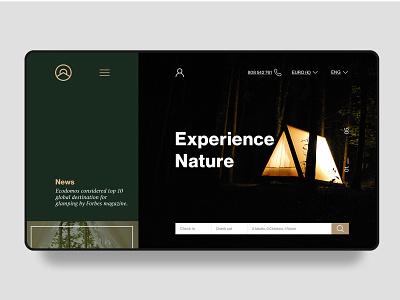 Homepage Design for Ecodomos - Glamping interface glamping nature housing website digital desktop web ui homepage