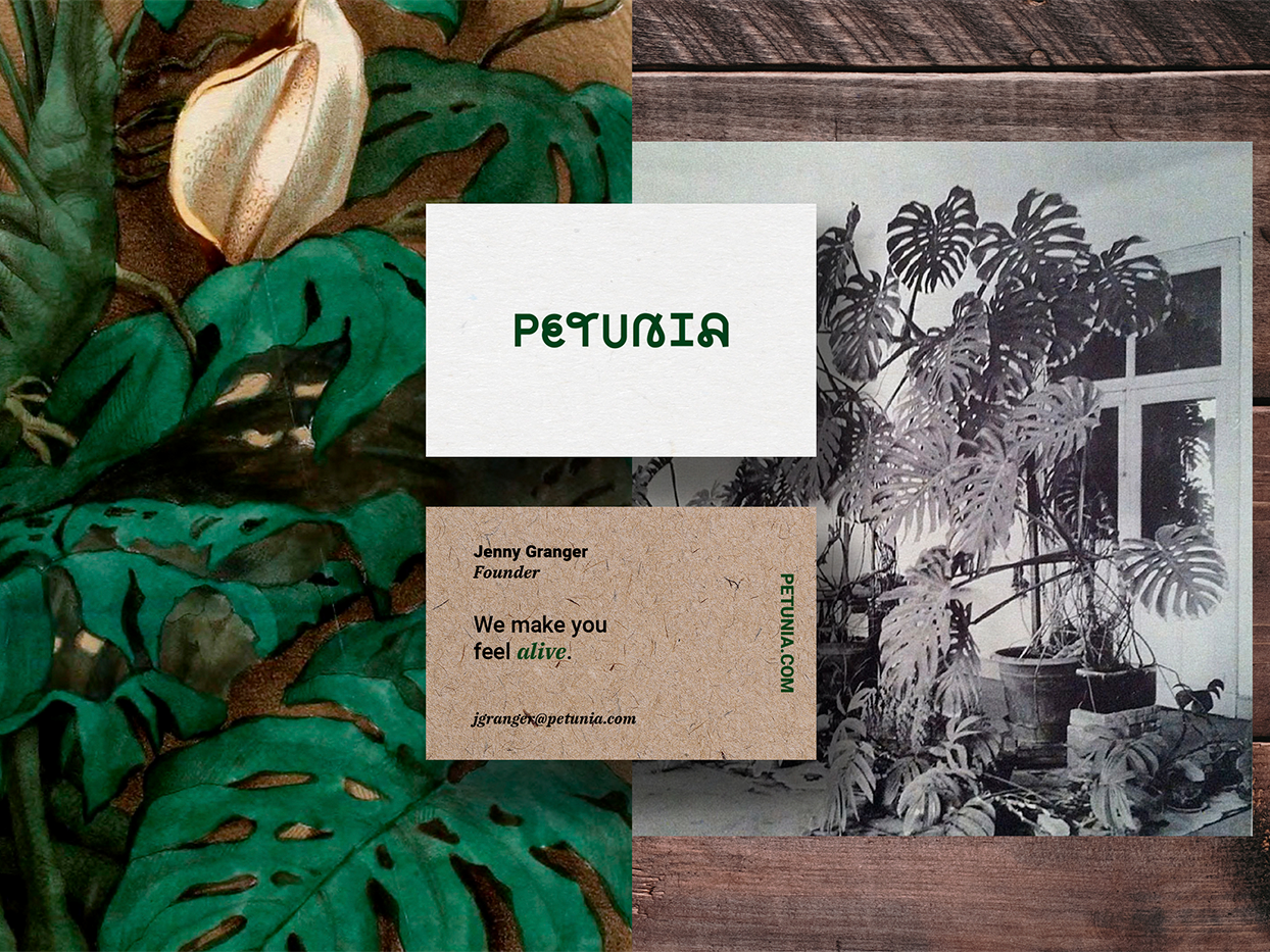 Petunia Business Card branding stationery businesscard ecommerce business identity online shop plants petunia online nature mobile ecommerce