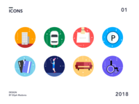 Icons symbols wheelchair couch casual credit card building driving parking shopping icons icon