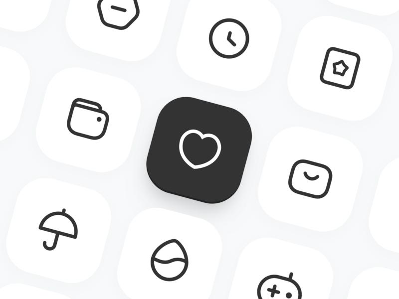 Icon Set ✨ user interface product mobile flat card logo black web custom app branding dribbble icon design ui