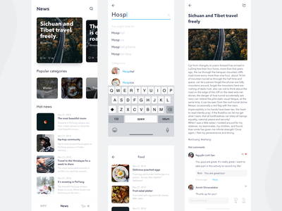 WePeiyang news module search list news app news card design icon app ui