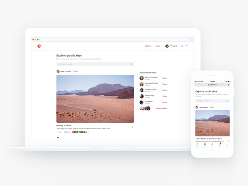 Introducing Explore responsive design travellers trips ui travel web esplorio