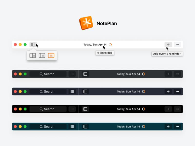 NotePlan 2 Toolbar design mac os bullet journal mac toolbar mac app noteplan 2 noteplan