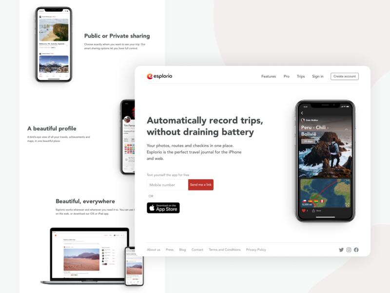 esplor.io marketing ios app travel landing page