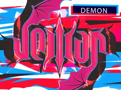 Mirroring logotype demon