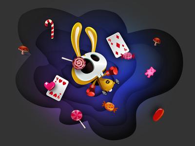Error 404 matrix cards games candies character-design rabbit missing error 404 game-design vectors