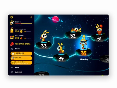 Homemade Fake Space Rabbits Travel planner game-design character-design illustration vectors ui weekly challenge