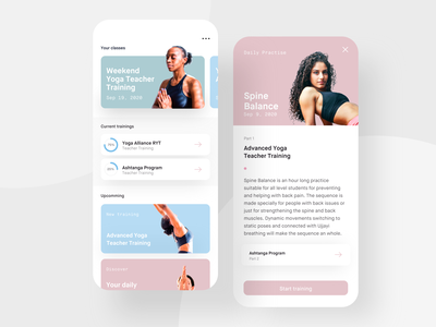 Yoga training app pastel fitness sport concept ux mobile uiux ui app