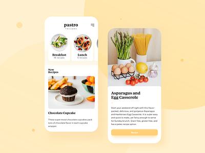 Pastro recipes search design branding ux typography restaurant food uiux ui mobile