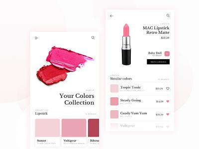 Color Finder Cosmetic App ux ui modern mobile app cosmetic