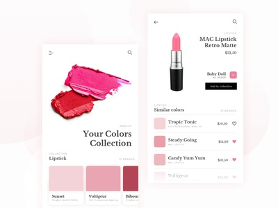 Color Finder Cosmetic App ux ui modern mobile app cosmetic