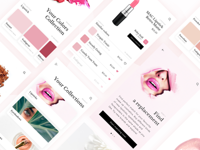 Color Finder Cosmetic App woman lady pink ux ui modern mobile cosmetic app
