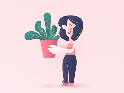 Plant lover pink people illustration plant