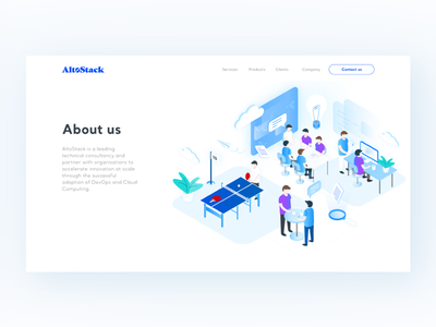 AltoStack - About us ui ux illustration isometric cloud consultancy devops