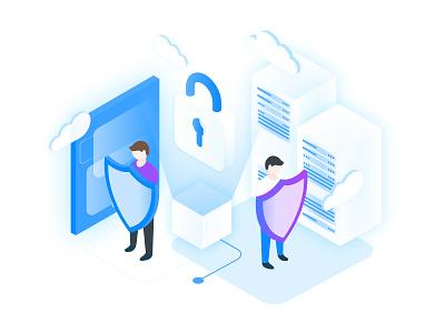 AltoStack – Managed SecOps Illustration protection firewall security ui ux illustration isometric cloud consultancy devops