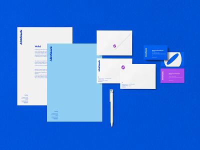 AltoStack – Corporate identity it devops purple blue business cards letterhead logo visual ci identity corporate branding