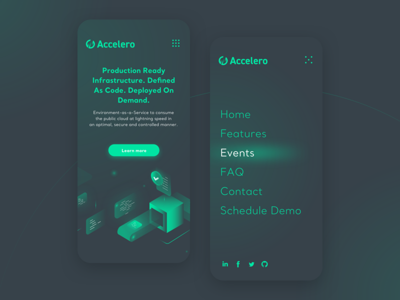 Accelero - mobile cosmic space dark theme green dark web vector typography cloud geometric branding ui ux isometric illustration